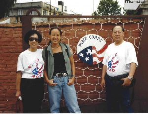 Sharon and her family standing out front of the Peace Corps Embassy in Nepal