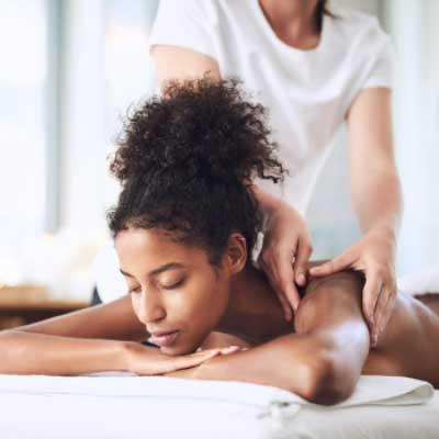 woman receiving a lymph massage